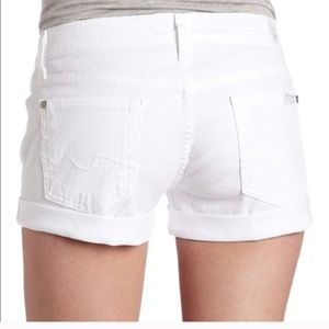7 FOR ALL MANKIND White Denim Shorts Rolled Up